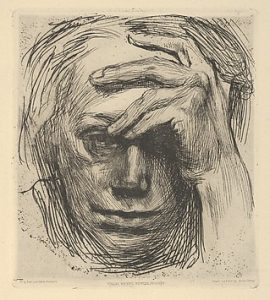 self portrait with hand on the forhead 1910