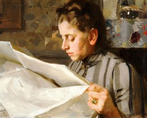 Portrait of Emma Zorn Reading | by Anders Zorn | oil on canvas | 1887